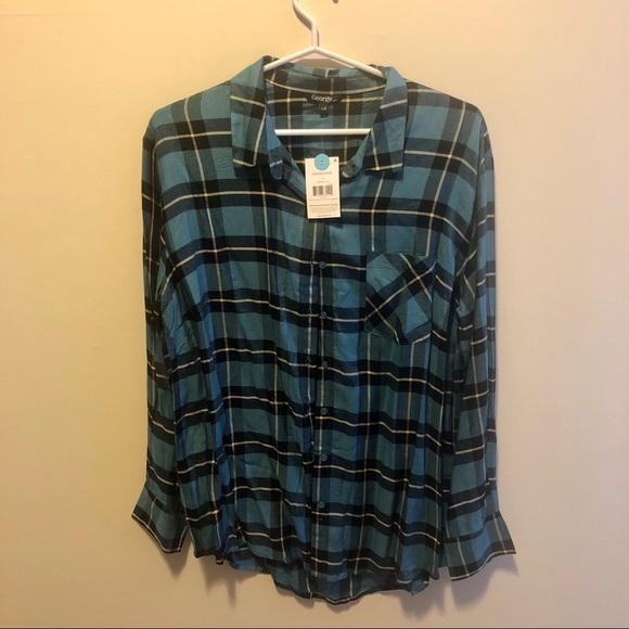 George Plaid Flannel Button Down Shirt